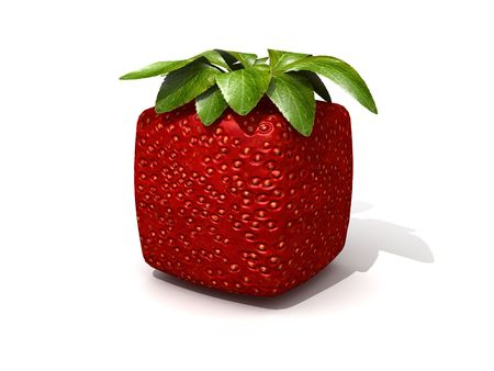3D rendering of a cubic strawberry against a white background