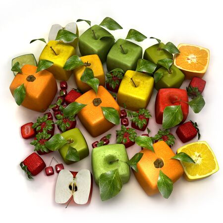 3D rendering of a selection of cubic fruits Stock Photo - 5618002