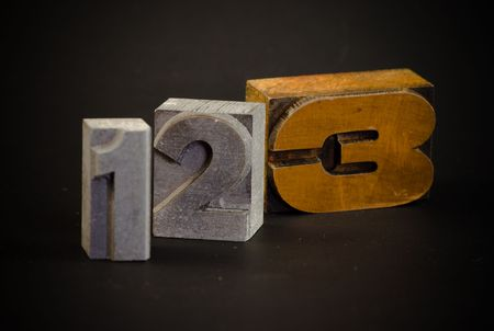 typescript: Numbers one, two and three in typescript letters Stock Photo