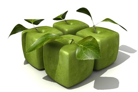 apple gmo: 3D rendering of a pack of four cubic apples Stock Photo