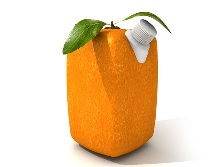 unnatural: 3D rendering of a Cubic orange with a juice dispenser