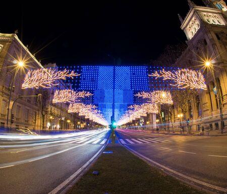 madrid  spain: Christmas street lights in Madrid