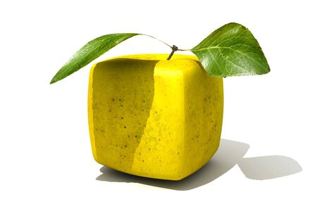 manipulated   alter: 3D rendering of a cubic golden apple  Stock Photo