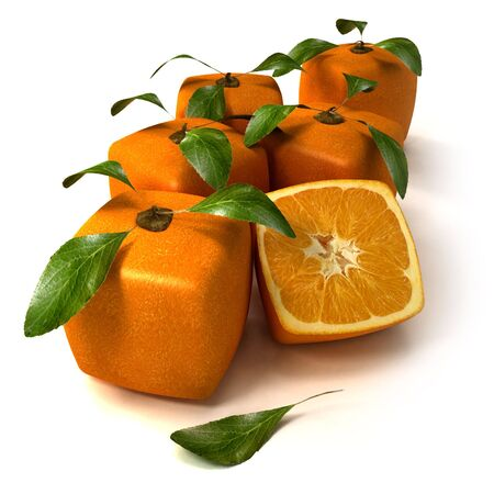 genetically modified crops: Composition of cubic oranges on a white background Stock Photo