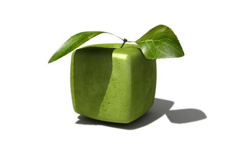 estrange: 3D rendering of a cubic apple fruit and a half