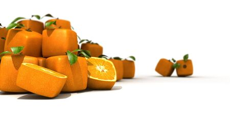estrange: Heap of cubic oranges and and isoalted pair ona a white background