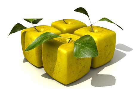 manipulated   alter: 3D rendering of a pack of four cubic apples Stock Photo