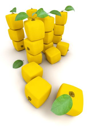manipulated : alter: Piles of cubic lemons on a white background
