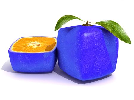 outgrowth: 3D rendering of a blue cubic citric fruit and a half