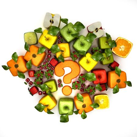unnatural: 3D rendering of a selection of cubic fruits surrounding a question mark