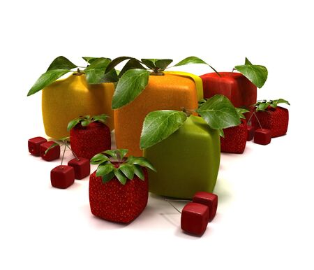estrange: 3D rendering of a selection of cubic fruits Stock Photo