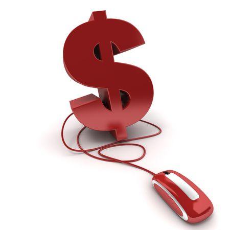 3D rendering of the Dollar symbol connected to a computer mouse photo