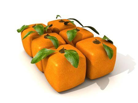 Pack of six cubic oranges Stock Photo - 5655090