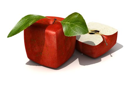 unnatural: 3D rendering of a cubic red apple and a half Stock Photo