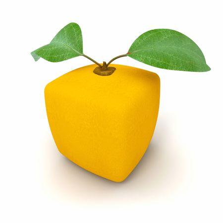 estrange: 3D rendering of a cubic orange fruit Stock Photo