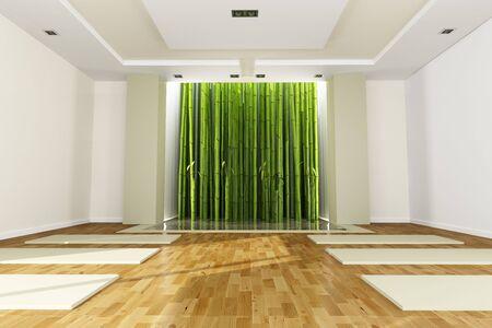 Matte: 3D-Rendering von einem Yoga-Klassenzimmer  Lizenzfreie Bilder