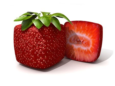 odd: 3D rendering of a cubic strawberry and a half against a white background Stock Photo