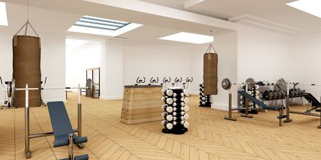 hand lifting weight: 3D-rendering of a very spacious gym club Stock Photo