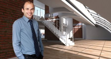 Shot of a happy man in a modern luxurios loft Stock Photo - 5701417