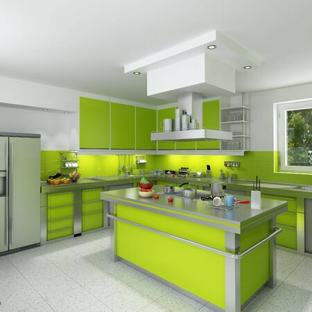 3D rendering of a modern spacious kitchen in green and chrome photo