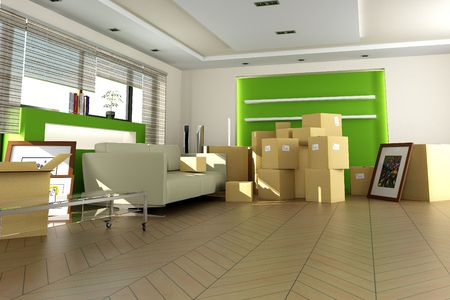 moving images: Home interior right after moving in. The images of the pictures are mine, and the label information is made up, so no copyright issue. Stock Photo