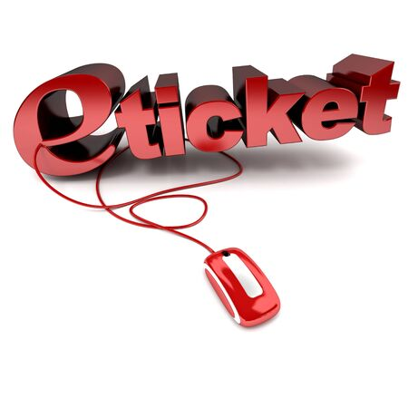 Red and white 3D illustration of the word e-ticket connected to a computer mouse Stock Illustration - 5719667