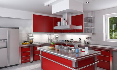 3D rendering of a modern spacious kitchen in red and chrome photo