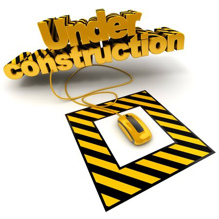 3D illustration of the word under construction connected to a computer mouse with black and yellow stripes Stock Illustration - 5719666
