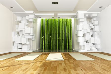 3D rendering of a yoga classroom with art objects