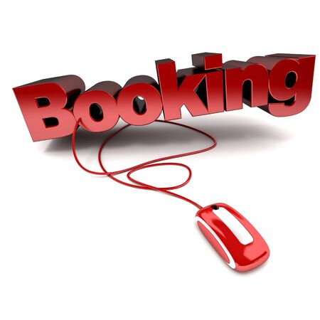 Red and white 3D illustration of the word booking connected to a computer mouse illustration
