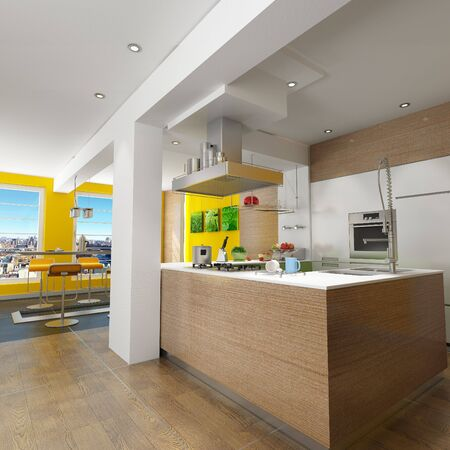 stainless steel kitchen: 3D rendering of a design kitchen with magnificent view (pictures on the wall are mine so there are no copyright issues) Stock Photo