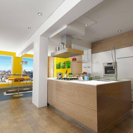 cuchillo de cocina: Representaci�n 3D de una cocina de dise�o con magn�ficas vistas (cuadros en la pared son m�as as� que no hay problemas de derechos de autor)