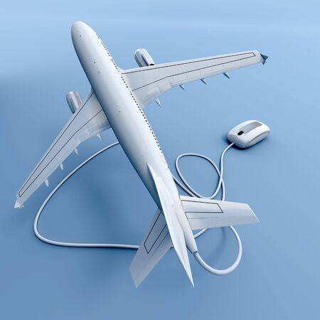 3D rendering of a flying airplane connected to a mouse Stock Photo - 5826188