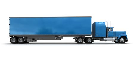 wheel truck: Lateral view of a big blue trailer truck against white background