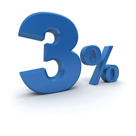 per cent: 3D rendering of 3 per cent in blue letters on a white background
