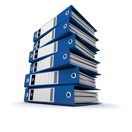 A pile of blue ring binders against a white background Stock Photo - 5833868