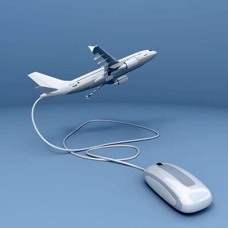 3D rendering of an airplane connected to a mouse Stock Photo - 5833871