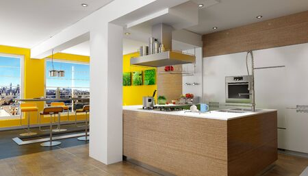spacious: 3D rendering of a design kitchen with magnificent view (pictures on the wall are mine so there are no copyright issues) Stock Photo
