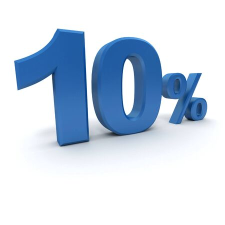 per cent: 3D rendering of a 10 per cent in blue letters on a white background Stock Photo