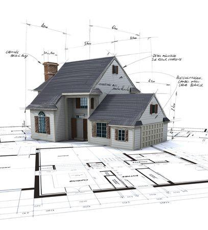 architect: Maqueta de la casa en la parte superior de planos con notas de pluma y correcciones