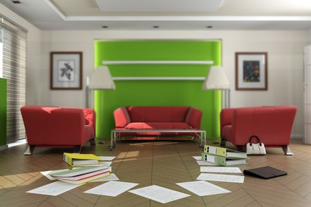 3D rendering of a living room with lots of documents and files on the floor. The images on the pictures on the wall are mine, so no copyright issue. Stock Photo - 5878705