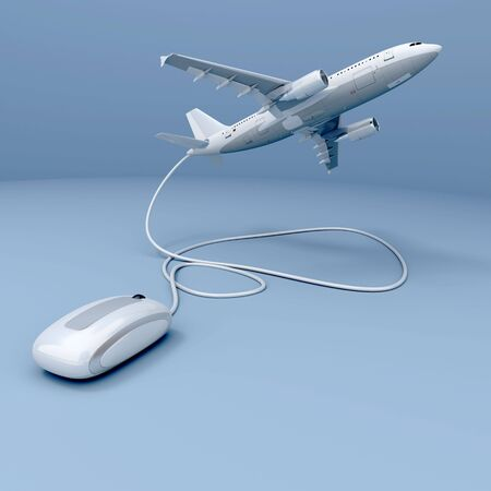 booking: 3D rendering of a flying airplane connected to a mouse