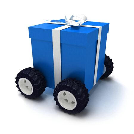 Blue gift box with white ribbon on wheels photo