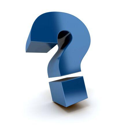punto di domanda: 3D rendering di una grande domanda marchio di blu