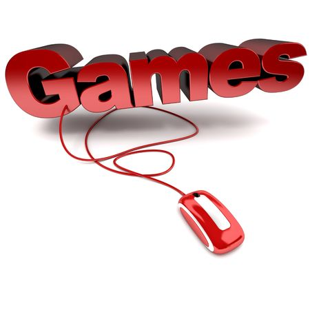 computer game: Red and white 3D illustration of the word games connected to a computer mouse