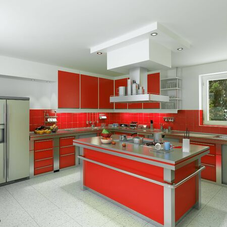 tool cabinet: 3D rendering of a modern spacious kitchen in red and chrome Stock Photo