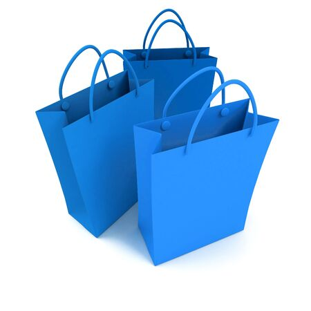 trio: 3D rendering of three blue shopping bags against a white background