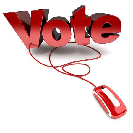 3D rendering of the word vote in red connected to a computer mouse photo