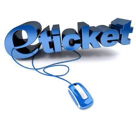 blue and white 3D illustration of the word e-ticket connected to a computer mouse illustration