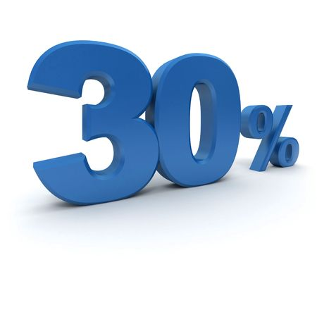 per cent: 3D rendering of a 30 per cent in blue letters on a white background Stock Photo